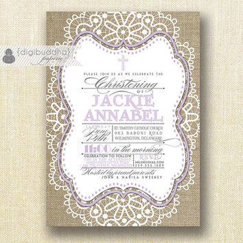 Lilac & Burlap Baptism Invitation Boy Girl Twins Christening Lace Shabby Chic Purple Lavender DIY Printable Digital or Printed- Jackie