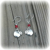 Teacher Apple Earrings * Hand Made * Red Beads