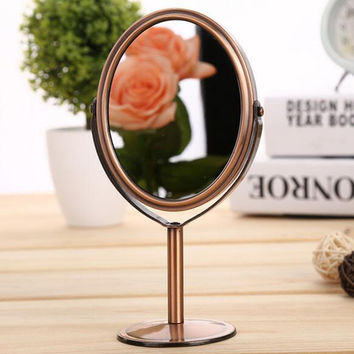 Vintage Double-Side Makeup Mirror Stand Magnifying Oval Round Desktop Stand Style Mirror cosmetics mirror 10cm*8cm*16.5cm