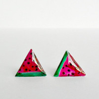Watermelon tiny studs, fruit post earrings, summer everyday posts, food jewelry