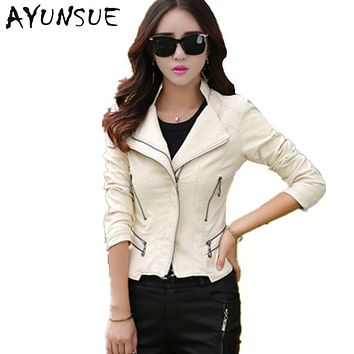 2017 Women Leather Jacket Ladies Clothing Spring Autumn Fashion Slim Faux Sheepskin Leather Jackets Plus Size WUJ0064