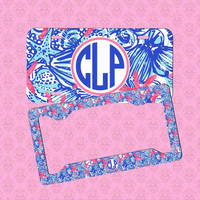 Front License Plate - Monogram Lilly Pulitzer Inspired Car Tag - Personalized Car Tag Monogram License Plate