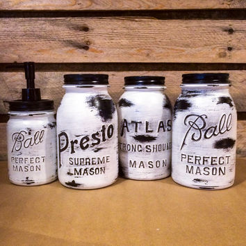 Vintage Mason Jar Canisters, Rustic White Mason Jars, Mason Jar Soap Dispenser, Atlas, Ball, Presto, White Mason Jar Kitchen Canisters
