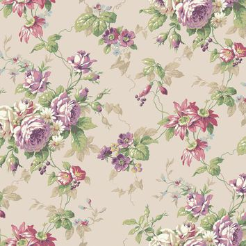 York CT0804 Callaway Cottage Rose Floral Trail Wallpaper