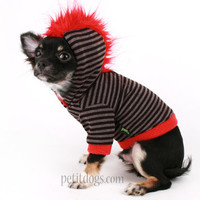Dog Clothes Mohawk Red and Grey Stripe dog hoodie sweater