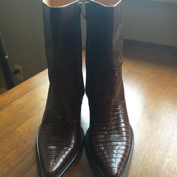 Vintage Dan Post Brown Rust Leather Lizard Skin Short Cowboy Boots Size 7 1/2 Cowboy Western Stampede Mexico Zipper Mid Heel Horse Riding
