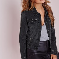 Missguided - Studded Trucker Denim Jacket Washed Black