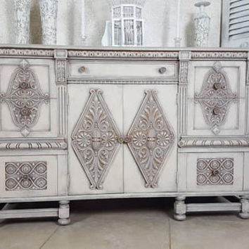 Antique Ornate Wood Carved Buffet,Shabby Chic Server, Hand Painted and Distressed in Layers of Gray and Stone Over Copper