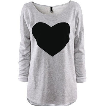 Sweatshirt with Contrast Heart Flocking