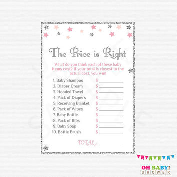 Pink and Silver Baby Shower. The Price is Right. Twinkle Twinkle Little Star Baby Shower Girl Ideas. Price is Right Shower Game. STPS