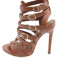 Strappy Buckled High Heel Sandals by Charlotte Russe - Tan