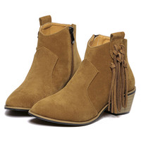 Brown Suedette Tassel Drop Chunky Ankle Boots