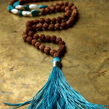 Evil eye mala beads Nepal vintage protection prayer beads Turquoise tassel necklace Rudraksha mala necklace Nomad style Bohemian jewellery