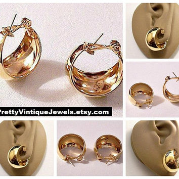 Monet Wide Bottom Hoops Pierced Post Stud Earrings Gold Tone Vintage 1960s Pat Pend Graduated Wide Band Support Clips