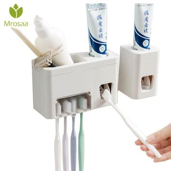 Hot Sale Wall Mounted Automatic Toothpaste Squeezer Dispenser With Toothbrush Holder Set Simple/Multifunction Bathroom Wash Set