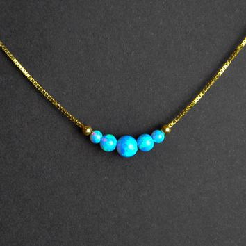 Blue Opal Necklace, Opal Bead Necklace, Opal Ball Necklace, Tiny Dot Necklace, 14K Gold Plated, October Birthstone, Bridal Wedding Necklace