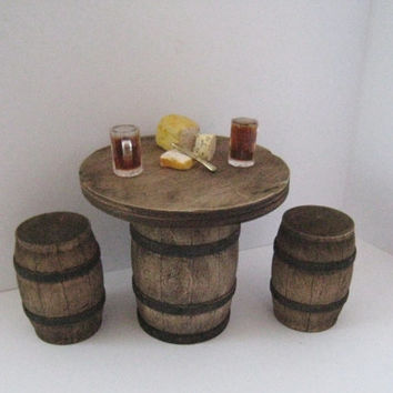 Dollhouse Tudor barrel table, barrel  stools, bar table, , Medieval table, beer table, dollhouse furniture, twelfth scale