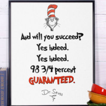 Dr Seuss Quote Don't cry because it's over Inspirational quote Dr Seuss print Nursery print Dr Seuss nursery poster