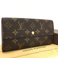 Authentic Louis Vuitton Monogram Portefeiulle Sarah Long Bifold Wallet /e324