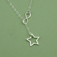 Petite Star Infinity Lariat Necklace - sterling silve lariat jewelry - charm necklace - gift for friend