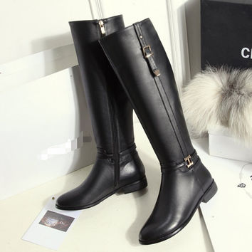 Winter Genuine Leather Riding Boots Flat Heel Fashion Women knee high zip boots Black womens boots big size winter shoes