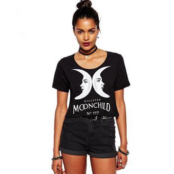 Personality Fashion Moon Letter Print Short Sleeve Crop Tops T-shirt