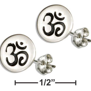 "STERLING SILVER MINI ROUND DISK OM OR ""OHM"" SYMBOL EARRINGS"