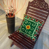 Embroidered Cotton Cushion Cover With Pom Pom, Designer Suzani Work Pillow, Outdoor Bohemian Cushion, Floral Green Color Theme