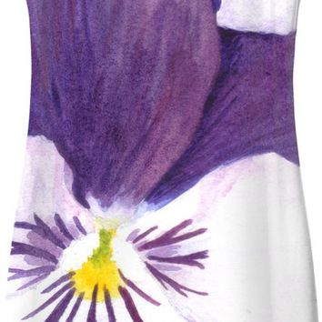 White and purple pansies flowers Simple Dress