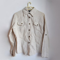 Women's Linen Shirt Beige Vintage Button Up 90s 1990s Size Small S