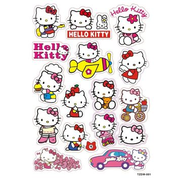 16pcs/lot hello kitty white cat Notebook skateboard trolley case decals backpack Tables sticker PVC waterproof car toy sticker