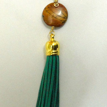 One, Suede tassel keychain, jacket, zipper pull, light pull. Beaded, fringe.