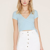Gathered Surplice Crop Top