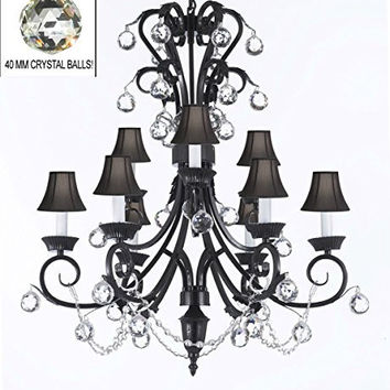"Foyer / Entryway Wrought Iron Empress Crystal (TM) Chandelier 30"" Inches Tall With Crystal Balls With Black Shades! H 30"" x W 26"" - A84-BLACKSHADES/B6/724/6+3"