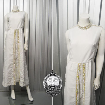 Vintage 60s Long Evening Dress White Grecian Dress Mod Wedding Dress Embellished Dress Mod Gogo High Neck Sleeveless Dress Party Dress 1960s