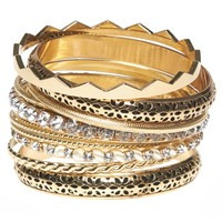 Rhinestone & Floral Bangle Set | Wet Seal