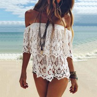 Lace Up Hollow Out Strapless Beach Tunic Shirt Top Blouse