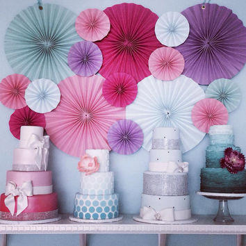 16 Pc Pinwheels/ size 12in and 8in/ CHOOSE COLORS/ rosettes /medallions/ wedding event decor// nursery / wall decor