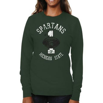 Michigan State Spartans Ladies Genuine Article Long Sleeve Slim Fit T-Shirt - Green