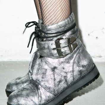 Qupid Space Newbie Boots Silver