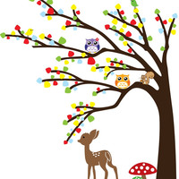 Giant Tree Owl Deer Kids Wall Decal Sticker SL9071
