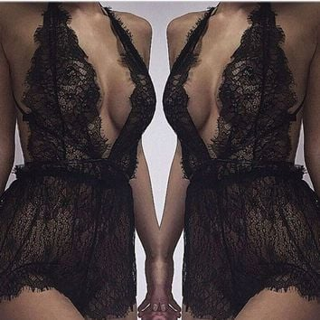 Sexy Lace One-piece Set Stylish Hollow Out Jumpsuit [7680861571]