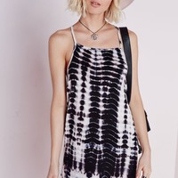 JERSEY SQUARE NECK STRAPPY CAMI DRESS BLACK/CREAM TIE-DYE