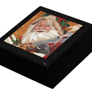 Keepsake/Jewelry Box - Jolly Santa - Black Lacquer