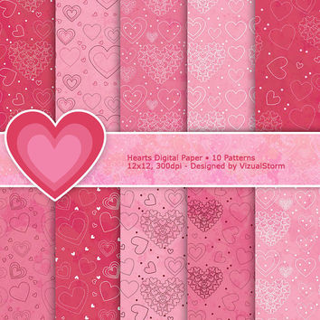 Valentine's Day Digital Paper, 10 Pink Heart Pattern Backgrounds, for scrapbooking, card making, crafts, Buy 2 Get 1 Free, Instant Download
