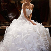 Ball Gown with Embellished Waist and Ruffled Skirt