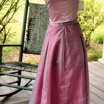 1970s Vintage Prom Dress/ 1970s Luly K of New York City Dress/1970s Metallic Magenta Tie Back Dress Made in the USA Dress S