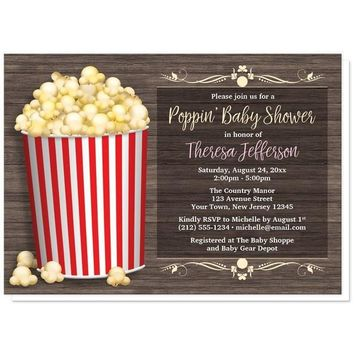 Popcorn Bucket Rustic Wood Baby Shower Invitations