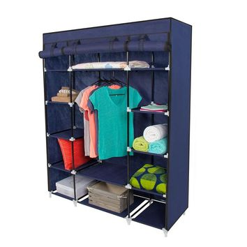 5-Layer Portable Closet Storage Organizer Wardrobe Clothes Rack With Shelves Blue