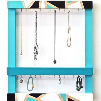 Jewelry Organizer - Geometric Jewelry Holder - Jewelry Frame - Wall Jewelry Organizer - Necklace Holder - Teal - Hand-Painted Frame